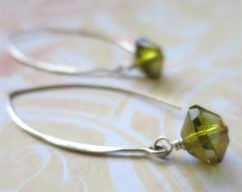 Moss green earrings faceted czech glass beads on long sterling silver earwires