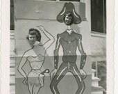vintage photo 1940s RARE Home Made ARCADE Women Poke Head Thru Cowboy Sexy Cowgirl