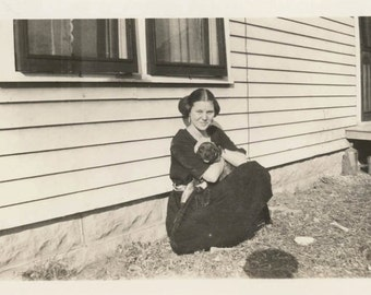 vintage photo 1928 Pretty YOung Woman Cuddles Cute Puppy Dog by House