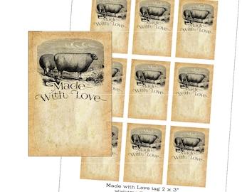 """Made With Love maker crafter gift hang tag set digital sheet set 2x3"""" sheep"""