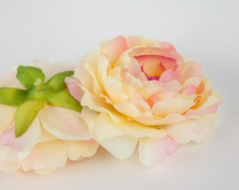 Silk Artificial Flower - Soft Yellow and Pink Ranunculus - 3.5 inches - artificial flowers - ITEM 01060