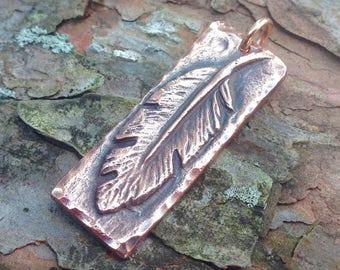Copper Feather Pendant, Handcrafted Jewelry Pendant, Feather Jewelry, Rustic Copper Feather