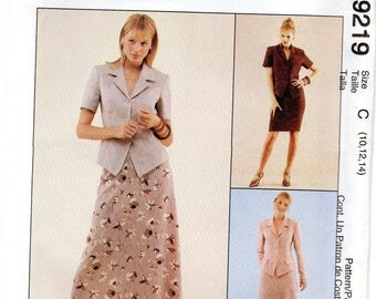 McCall's 9219 Misses Unlined Jacket And Skirts Uncut Pattern Size 10-12-14 Copyright 1998