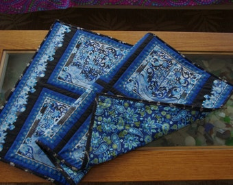 Blue Design Quilted Table Runner, Table Topper, Beautiful Blues, Intricate Design, Quilted Wall Hanging