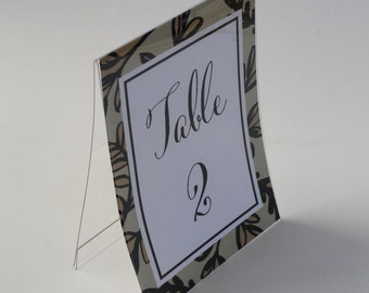 Sign Holders -  Tented Double Sided - Table Top Sign Holder - Wedding Table Number Signs - 5 x 7 sign holder - Photo Frame