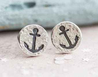 Anchor Earrings, Silver Anchor Earrings, Anchor Stud Earrings, Handmade Anchor earrings, nautical earrings, sailing earrings, gift for her