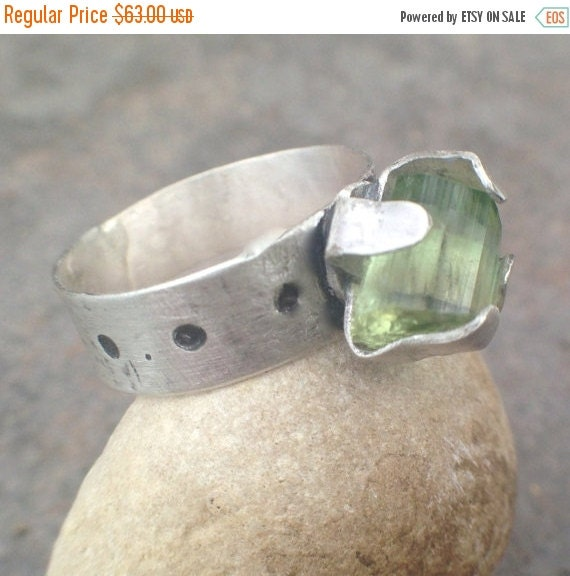 25% Off - Raw Tourmaline Crystal Sterling Silver Ring - bold ring, crystal ring, tourmaline ring, tourmaline jewelry, US Size 6.5