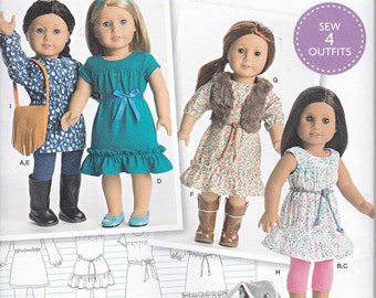"Simplicity 0541 or 8282 American Girl Doll Spring Dress and Tunic 18"" Doll Clothes Sewing Pattern New UNCUT"