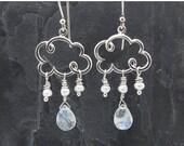 cloud earrings, dangle earrings, gift for her, raindrop earrings, rain earrings, weather jewelry, silver cloud earrings, cloud jewelry,