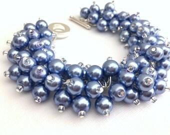 Lavender Blue Pearl Bracelet, Bridesmaids Jewelry, Blue Beaded Bracelet, Cluster Bracelet, Chunky Bracelet, Bridesmaid Gift, Wedding Jewelry