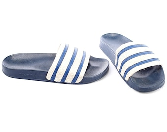 80s ADIDAS Slide Soccer Sandals Adilette Sport Slides Navy Blue White Three Stripe Slip On MULES Summer Beach Shoes Us Men 9, Uk 8.5, Eur 42
