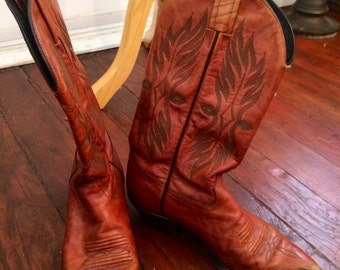 Vintage womens 1980's brown leather cowboy boots size 6.5