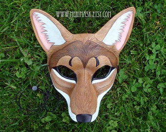 READY TO SHIP Coyote Mask ... leather wolf canid mask masquerade costume mardi gras halloween burning man fantasy