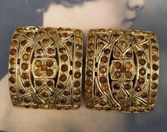 Vintage Rhinestone Shoe Buckle Pair Yellow Metal Topaz Rhinestones