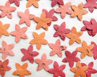 100 Plantable Confetti Starfish - Flower Seed Paper Starfish - Coral Beach Wedding Favors - Orange Seed Paper Starfish