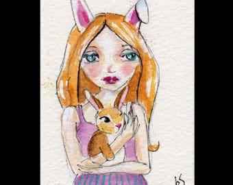 ACEO Blonde Girl Bunny Rabbit Whimsical art Original Collectible Watercolor