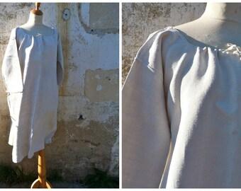 Vintage Antique 1900 /1910 Victorian Edwardian pure linen  shirt / nightgown   cross stiched monogram  size L/XL