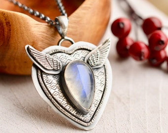 Textured Silver Heart Pendant, Heart with Wings Jewelry, Rainbow Moonstone Necklace, Oxidized Finish, Artisan Jewelry