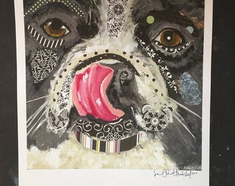 Closeup of Frenchie Dog with his Tongue Collage Digital Print From Original Painting
