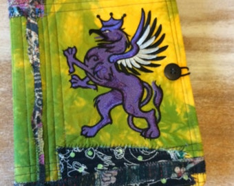 Celtic Griffin Journal - COMPOSITION Notebook Book Cover - fabric and embroidery collage
