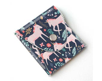 Vinyl Coin Purse - Unicorn Forest / magical, mythical, floral, pink, flowery, wallet, vegan, change, snap, small, pocket wallet, gift