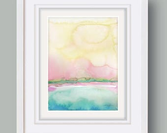 """Abstract Watercolor Painting, soft, Serene, Peaceful, Tranquil, Original art """"Ethereal Travels 5"""" Kathy Morton Stanion EBSQ"""