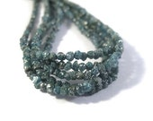 Cyber Monday SALE - Deep Teal Blue Rough Diamond Nuggets, 8 Inches of Raw Diamond Beads 1.5-2.5mm Diamond Beads, Drilled Bead, Jewelry Suppl