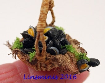 12th scale handwoven basket of fresh mussels.