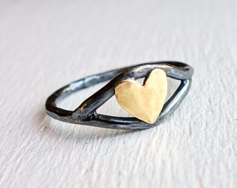 Eye Love You - Black and Gold Heart Ring- Oxidized Black Sterling Silver and Brass Heart Eye Ring
