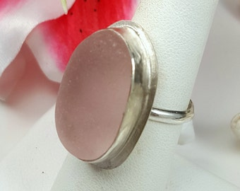 Sea Glass Jewelry Sea Glass Ring Pink Sea Glass Ring  Pink Beach Glass Ring Pink Sea Glass Jewelry English Sea Glass Size 7.5 - R-114