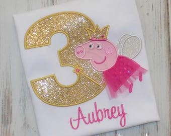 Pig Birthday Shirt, Peppa Pig Fairy Shirt, Pig Shirt, Girl Pig Birthday Shirt, Girl Birthday Shirt, Peppa outfit, sew cute creations