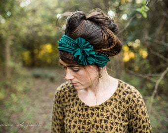 Rosette in JADE - 20 colors avaliable Garlands of Grace headband hair wrap headcovering head band Stretch