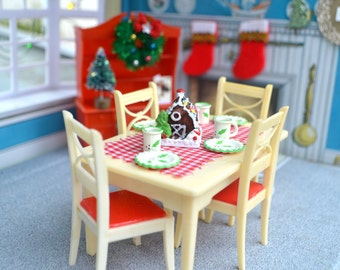 1950's Renwal Holiday DIning Room Set With Christmas Dishes and Vintage Accessories