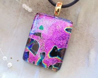 Pink Necklace, Black, Dichroic Glass Pendant, Fused Glass Jewelry, Necklace Included, A11