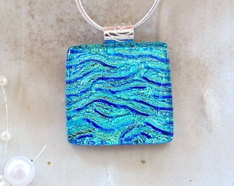 Green Necklace, Blue, Turquoise, Dichroic Pendant, Fused Glass Jewelry, Necklace Included, A5