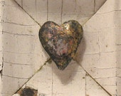 Heart of Gold - Heart Art - Valentine Art - Original Mixed Media Assemblage - Architectural Salvage Wood Collage - Heart Wall Art