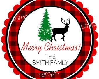 Woodland Christmas Stickers, Rustic Reindeer,  Woodland Holiday labels,  Rustic Christmas labels, Gift labels, Santa stickers,set of 12