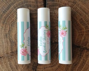 Personalized Lip Balm Stickers -- Peony Stripe Blue -- Custom Chapstick Labels, Shower Favors, Wedding Favors
