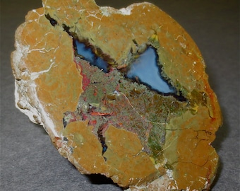 Geode Specimen Paperweight Cut Exposed - Half Geode - Septarian Geode Nodule Polished Rock Face