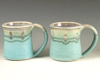 A Pair of Pottery Mug (14oz) in turquoise glaze large handle stoneware