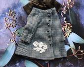 Tweed Duster Coat for Blythe - Appliqué  flower