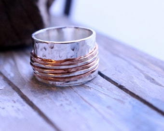 Sterling Silver Copper Wide Band Spinner Ring - Fidget Ring SR103