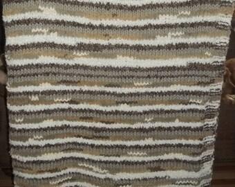 Handmade Neutral Tones Knit Afghan....Browns