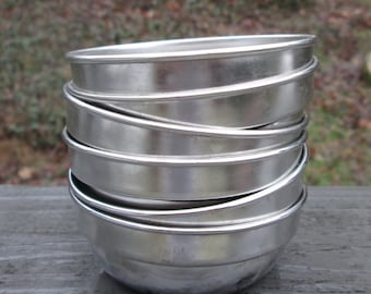 Six Small Round Aluminum Soap Molds/ Candle Molds/ Votive Holders/ Tart Pans