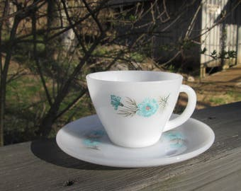 Vintage Fire King Teacup and Saucer - Blue Carnation 1960s - Mothers Day