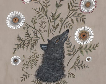 Wolf with Flowers - Print