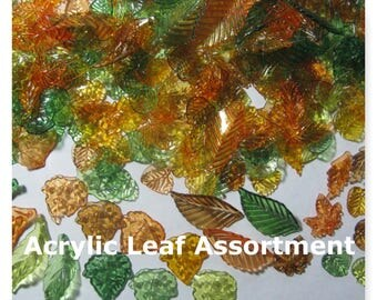 Acrylic Leaf Charms  Beads  250 Leaves Acrylic Charms 45mm 35mm 25mm 20mm 15mm