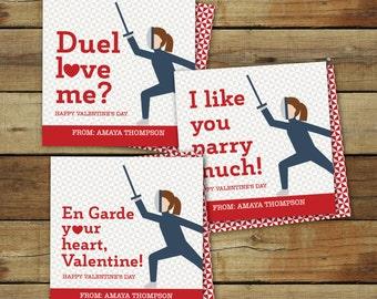 Fencing Valentine's Day Cards for girls - printable fencing valentine - editable pdf - instant download - diy valentine