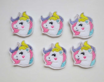 Unicorn Face  Felt Embroidered Applique Embellishments - 439