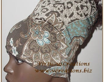HeadBand-HeadTube-Paisley-Cheetah Print-Brown-White-Blue-Locs-Natural Hair Accessories